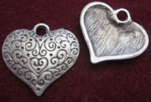 Steampunk Style patterned heart charm (2) - Antique Silver